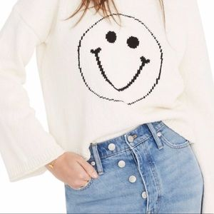 NWT Madewell Brownstone Smiley Face Sweater L